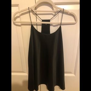 Black satin racerback blouse